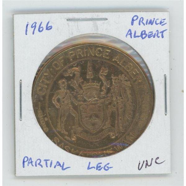 Prince Albert, Saskatchewan. 1966 Trade Dollar. Partial Leg variety. Unc.