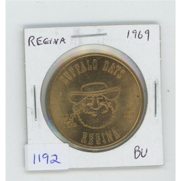 Regina. 1969 Trade Dollar Buffalo Buck. Features Pemmican Pete. BU.