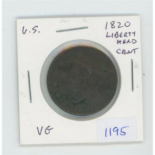 U.S. 1820 Liberty Head Large Cent. VG-8.