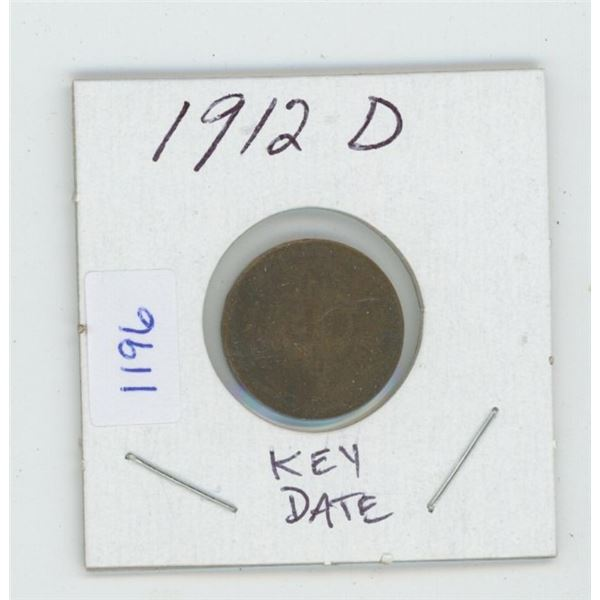 U.S. 1912D Lincoln Cent. Key Date. VG-8.
