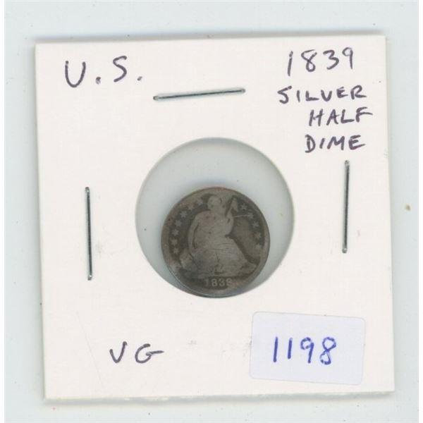 U.S. 1839 Silver Half Dime. VG-8.