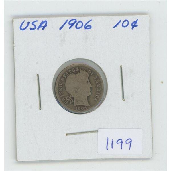 U.S. 1906 Silver Barber Dime. VG-8.