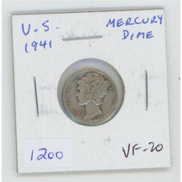 U.S. 1941 Silver Mercury Dime. World War II issue. VF-20.