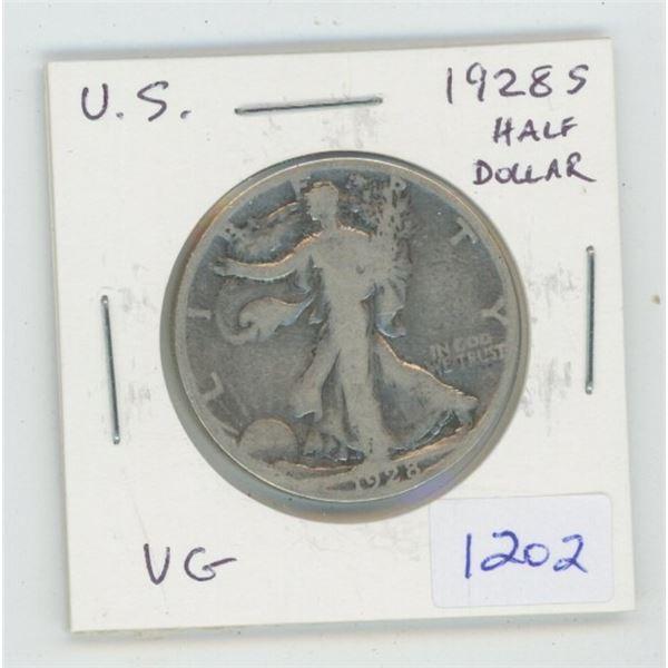 U.S. 1928S Walking Liberty Silver Half Dollar. San Francisco Mint. VG-8.