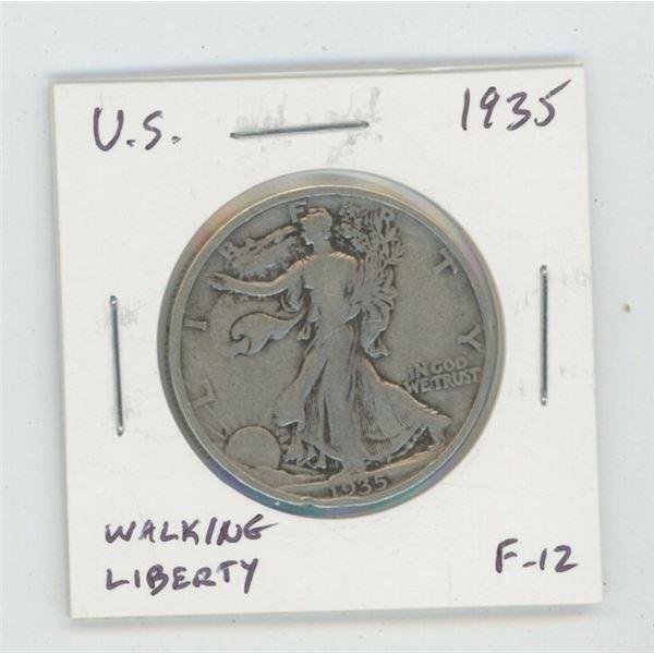 U.S. 1935 Walking Liberty Silver Half Dollar. F-12.