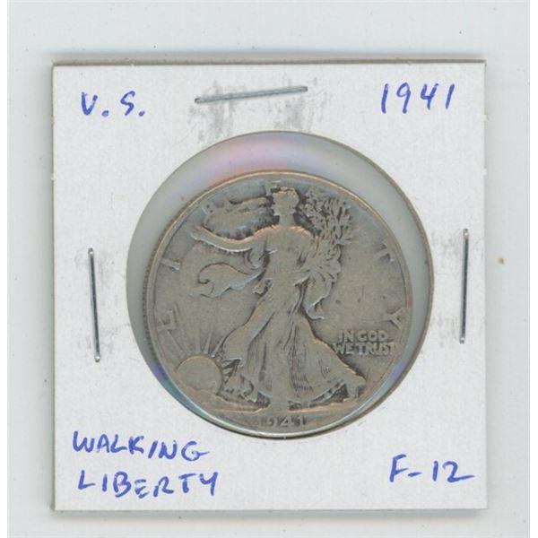 U.S. 1941 Walking Liberty Silver Half Dollar. World War II issue. F-12.