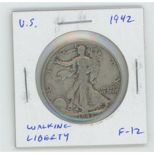 U.S. 1942 Walking Liberty Silver Half Dollar. World War II issue. F-12.
