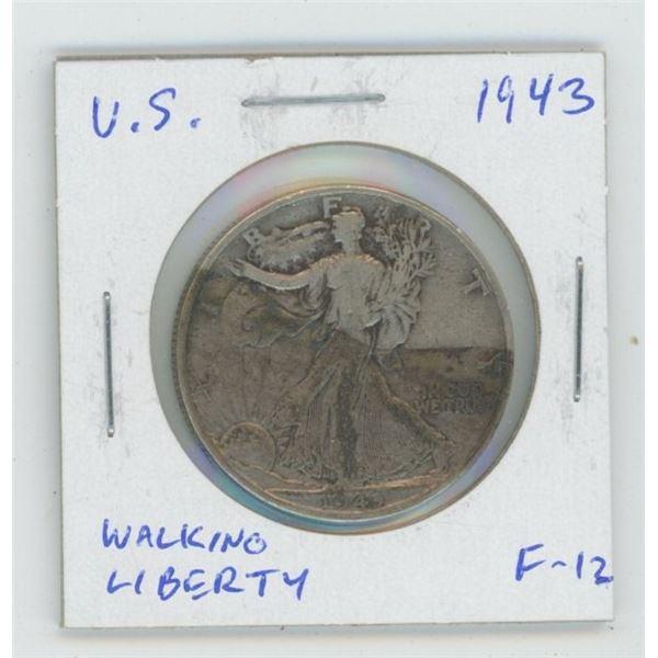 U.S. 1943 Walking Liberty Silver Half Dollar. World War II issue. F-12.