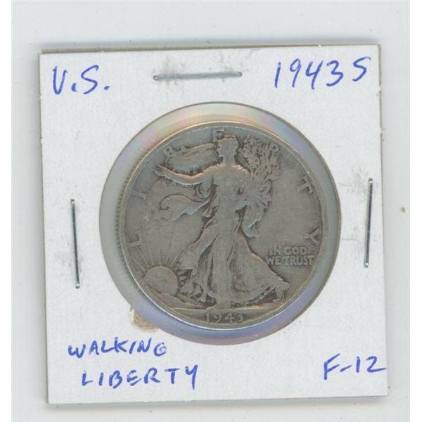 U.S. 1943S Walking Liberty Silver Half Dollar. San Francisco Mint. World War II issue. F-12.