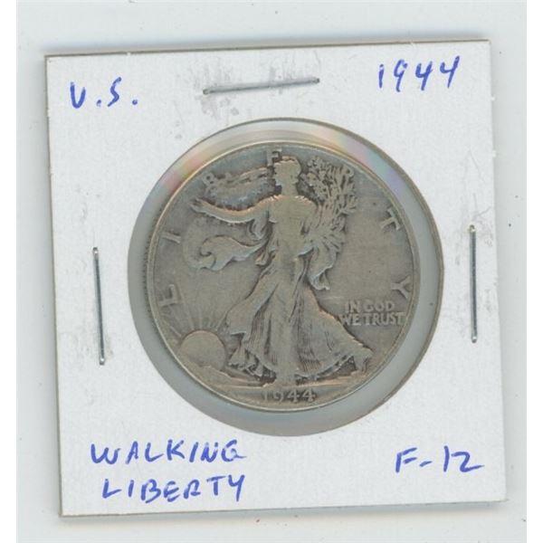 U.S. 1944 Walking Liberty Silver Half Dollar. World War II issue. F-12.