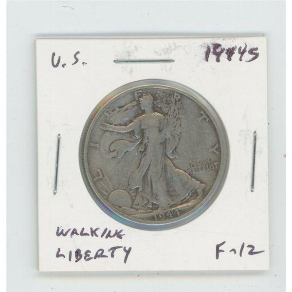 U.S. 1944S Walking Liberty Silver Half Dollar. San Francisco Mint. World War II issue. F-12.