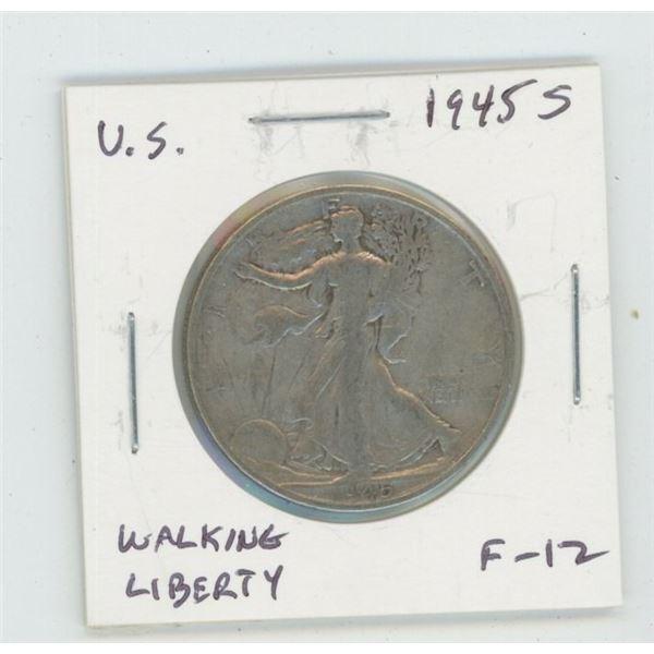 U.S. 1945S Walking Liberty Silver Half Dollar. San Francisco Mint. World War II issue. F-12.