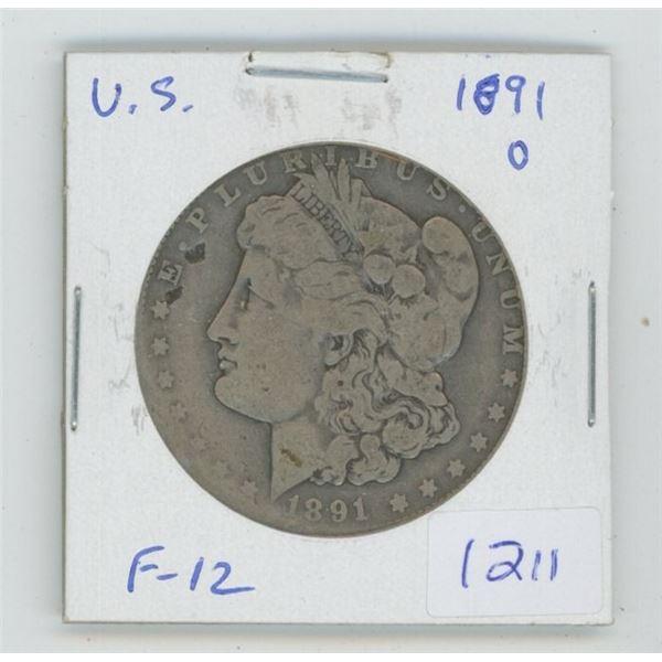U.S. 1891 O Morgan Silver Dollar. New Orleans Mint. F-12.