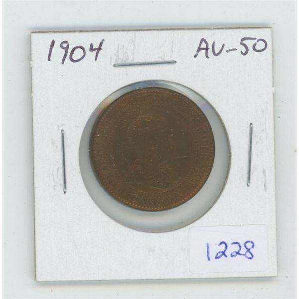 1904 Edward VII Large Cent. AU-50. Lustrous. Nice.