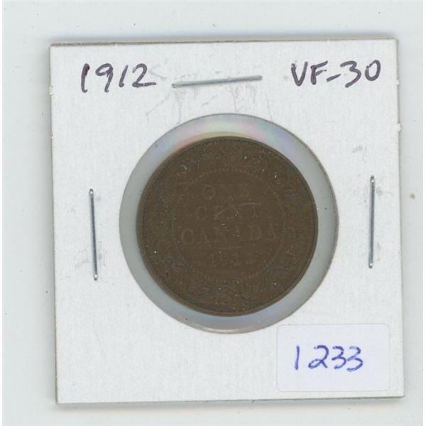 1912 George V Large Cent. VF-30. Nice.