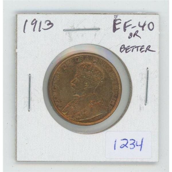 1913 George V Large Cent. EF-40 or better. Nice.