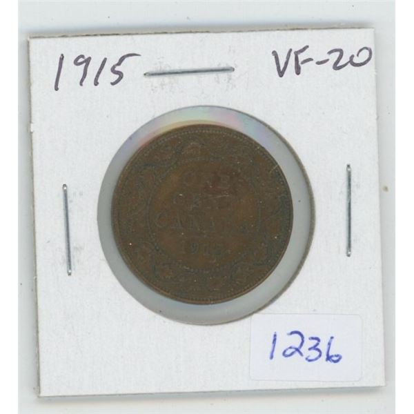 1915 George V Large Cent. VF-20. World War I issue.