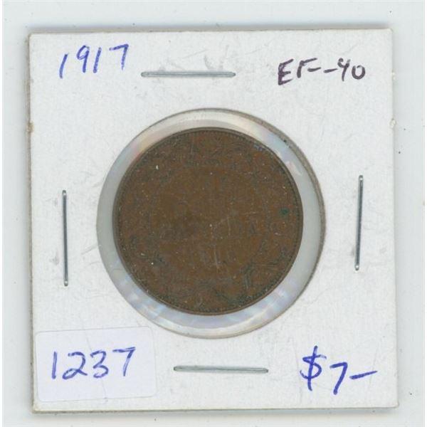 1917 George V Large Cent. EF-40. Nice. World War I issue.