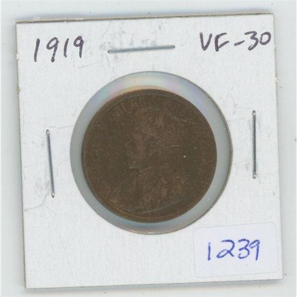 1919 George V Large Cent. VF-30. Nice.