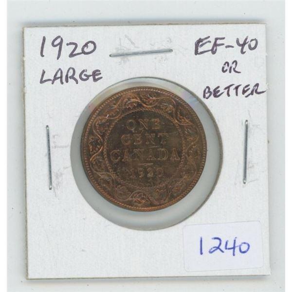 1920 George V Large Cent. EF-40 or better. Nice.