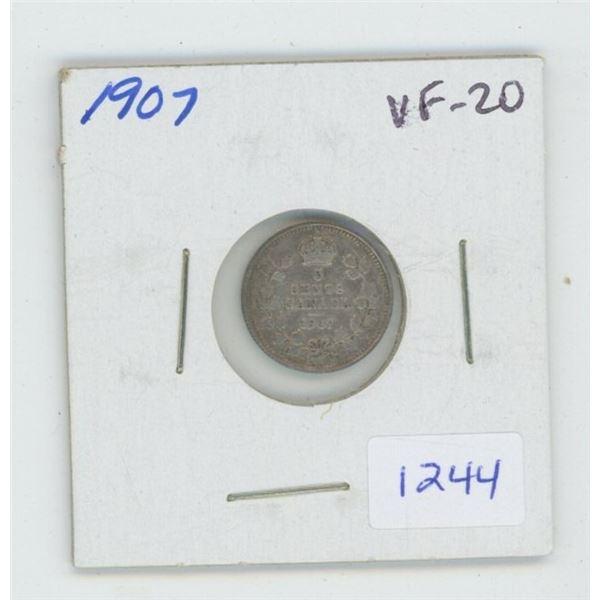 1907 Edward VII Silver 5 Cents. VF-20.  Nice.