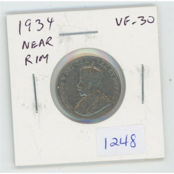 1934 Near Rim Nickel 5 Cents. S is Near Rim. VF-30. Nice.
