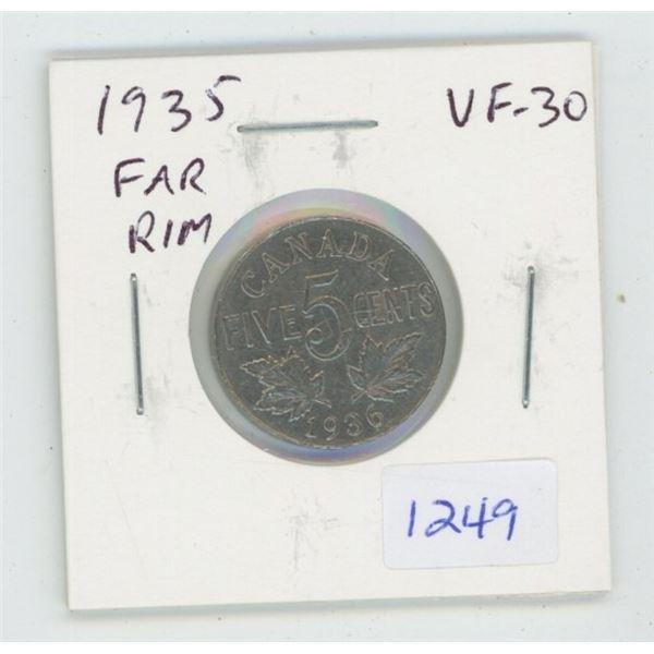 1935 Far Rim Nickel 5 Cents. S is Far from Rim. VF-30. Nice.