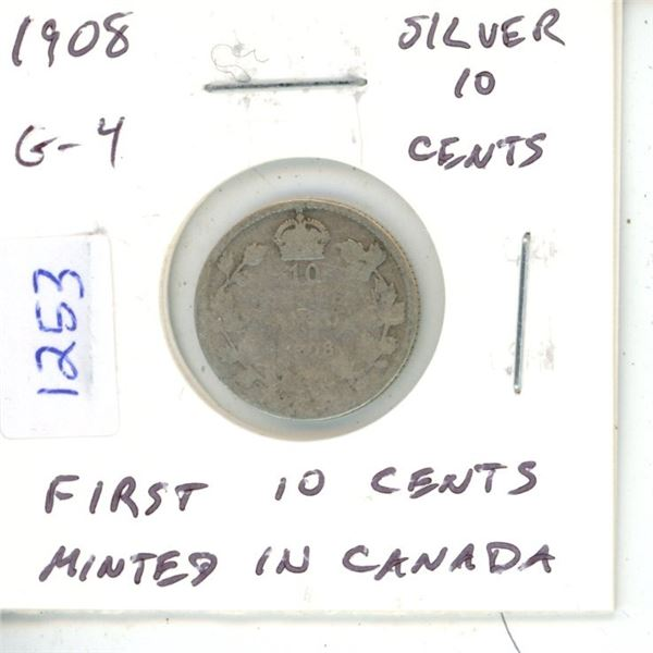 1908 Edward VII Silver 10 Cents. The first 10 cents minted in Ottawa. G-4. Readable Date.