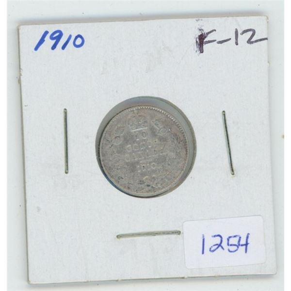 1910 Edward VII Silver 10 Cents. The last 10 cents issued for Edward VII. F-12.