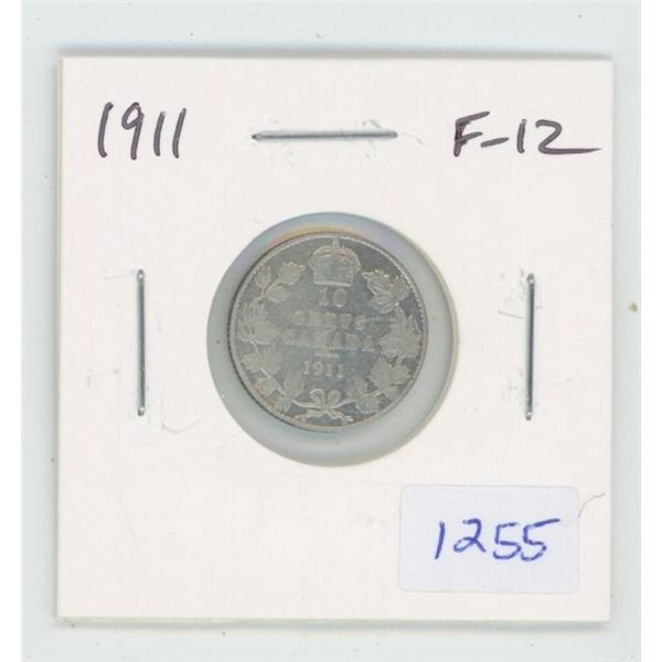 1911 George V Silver 10 Cents. The first issue of George V.