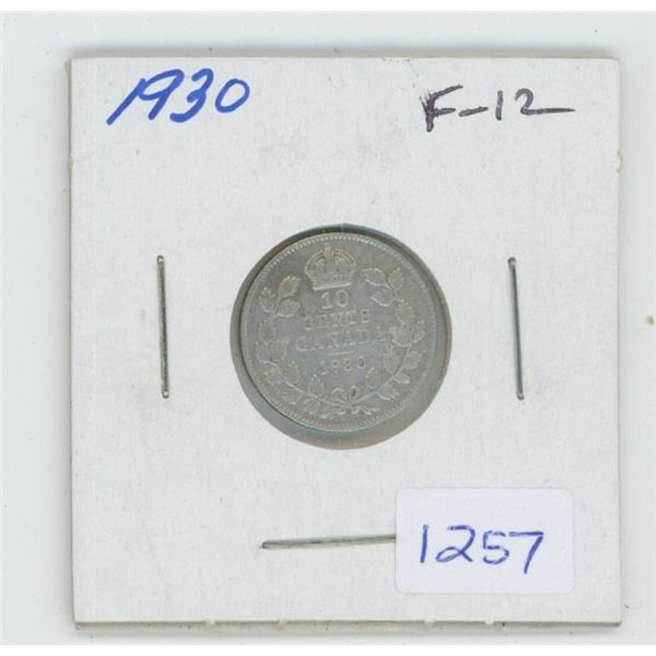 1930 George V Silver 10 Cents. F-12.