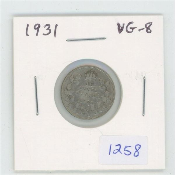 1931 George V Silver 10 Cents. VG-8.