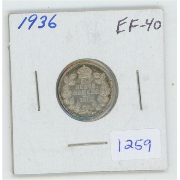 1936 George V Silver 10 Cents. The last issue of George V. EF-40. Nice.