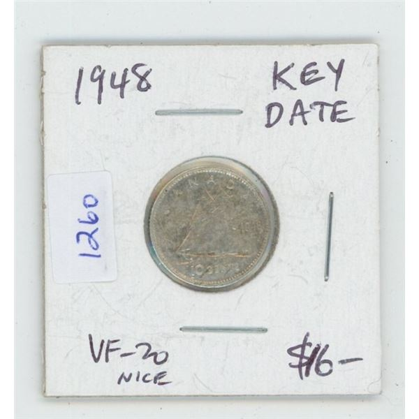 1948 George VI Silver 10 Cents. Key Date. Mintage of 422,741. VF-20. Nice.