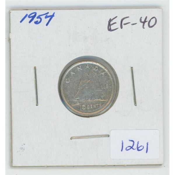 1954 Silver 10 Cents. EF-40. Nice.