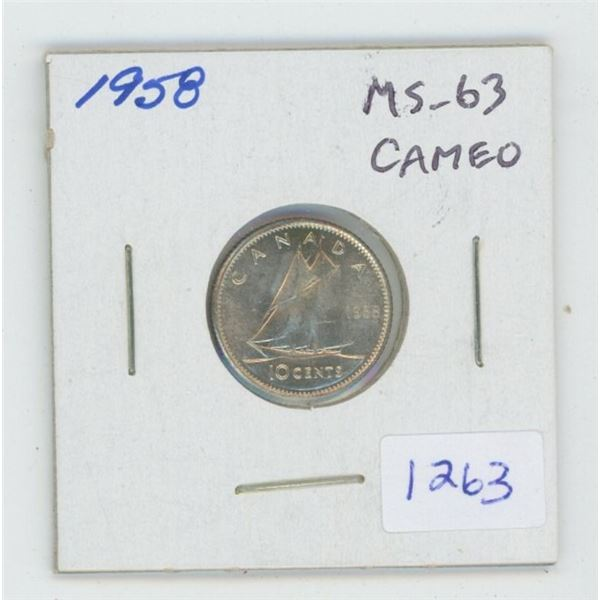 1958 Silver 10 Cents. MS-63. Cameo. Nice.