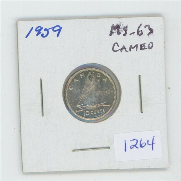 1959 Silver 10 Cents. MS-63. Cameo. Nice.
