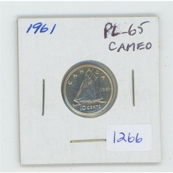 1961 Silver 10 Cents. PL-65. Cameo. Beautiful.