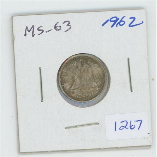 1962 Silver 10 Cents. MS-63. Toned.