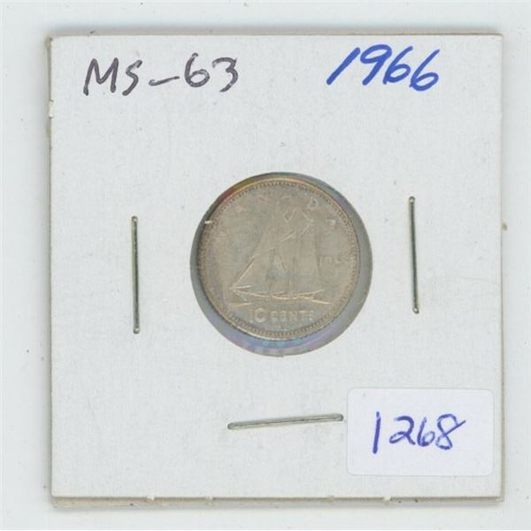 1966 Silver 10 Cents. MS-63. Nice.