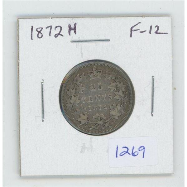 1872H Victorian Silver 25 Cents. Heaton Mint. F-12.