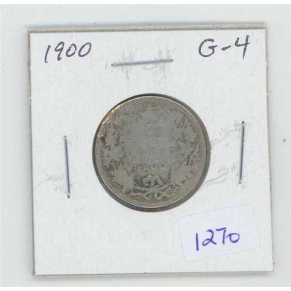 1900 Victorian Silver 25 Cents. G-4. Readable Date.