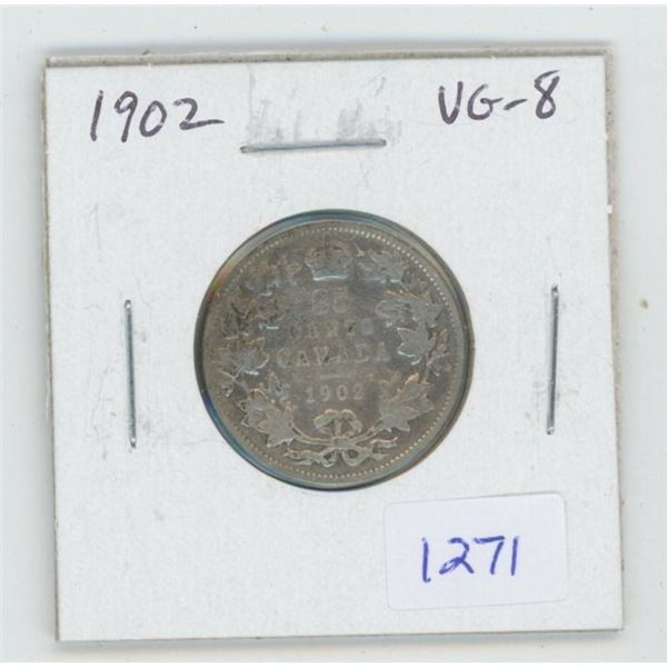 1902 Edward VII Silver 25 Cents. The first 25 cents issued for Edward VII. VG-8.