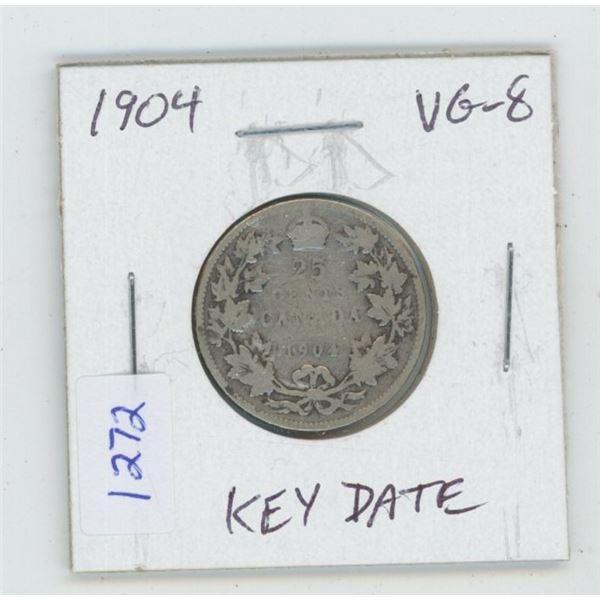 1904 Edward VII Silver 25 Cents. VG-8. Key Date. Mintage of 400,000.