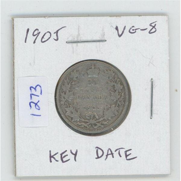 1905 Edward VII Silver 25 Cents. VG-8. Key Date. Mintage of 800,000.