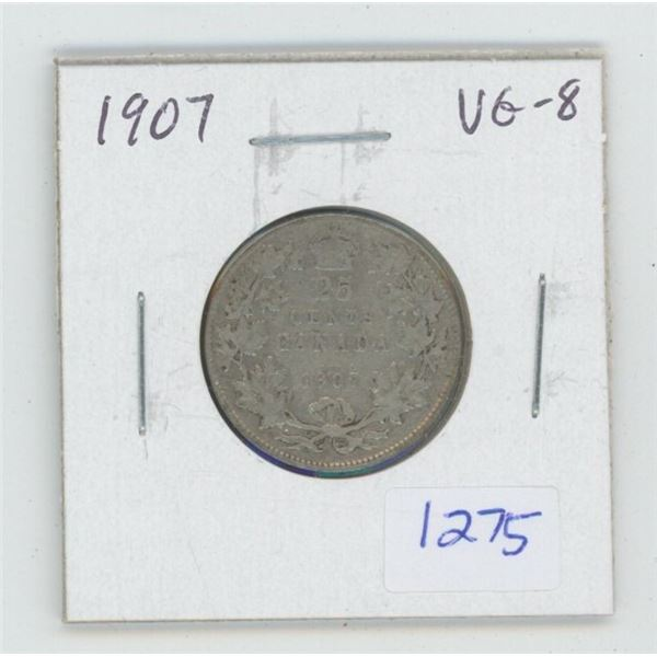 1907 Edward VII Silver 25 Cents. The last 25 cents minted in England. VG-8.