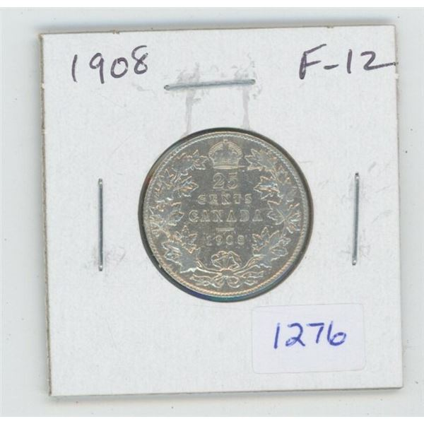 1908 Edward VII Silver 25 Cents. F-12. The first 25 cents minted in Ottawa.
