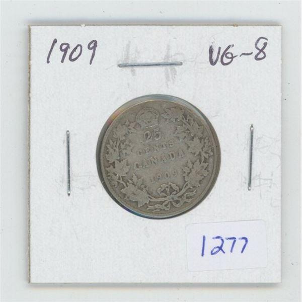 1909 Edward VII Silver 25 Cents. VG-8.