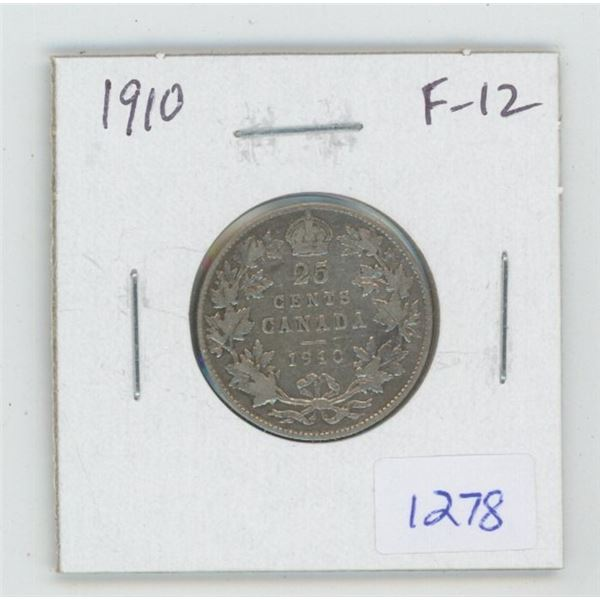 1910 Edward VII Silver 25 Cents. The last 25 cents issued for Edward VII. F-12.