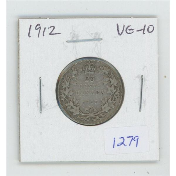1912 George V Silver 25 Cents. VG-10.